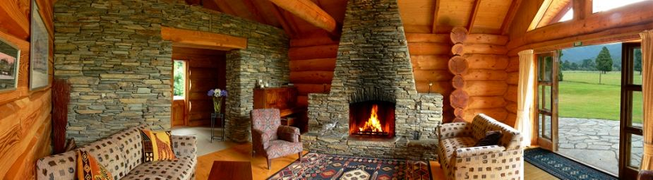 Peel Forest Lodge Is A Modern Log Cabin Style With Dramatic Stone Fireplace