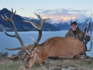 Rodney Smith with a trophy Red Stag, Glen Dene, New Zealand